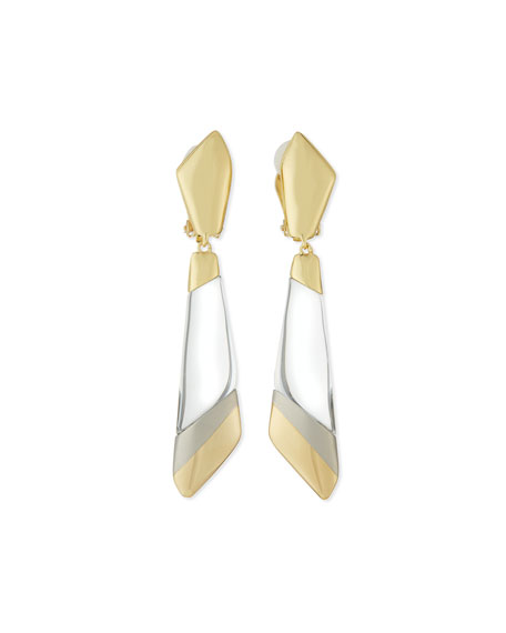 Alexis Bittar Two-Tone Angled Dangling Clip Earrings, Clear