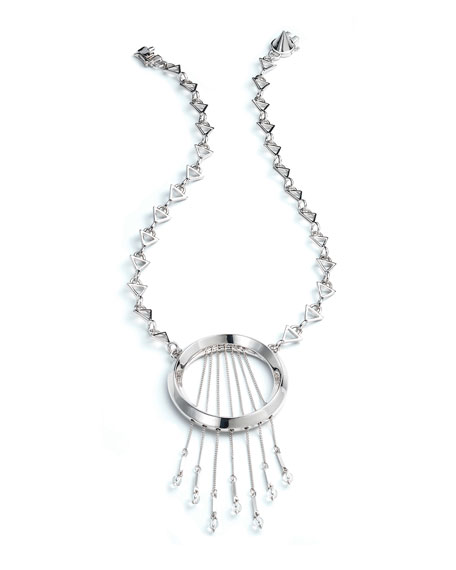 Eddie Borgo Oracle Statement Fringe Necklace, Silvertone