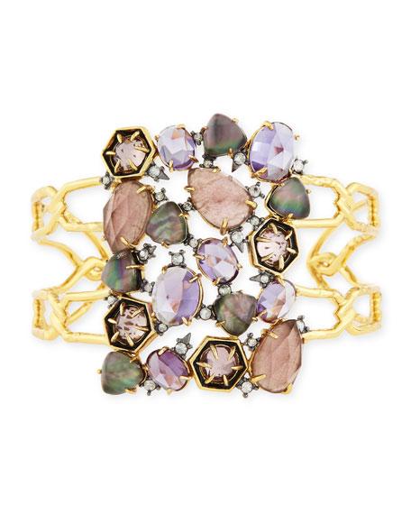 Alexis BittarMosaic Mixed Crystal Cuff Bracelet