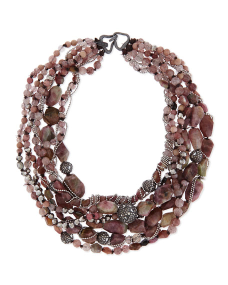 Beaded Tressage Multi-Row Necklace