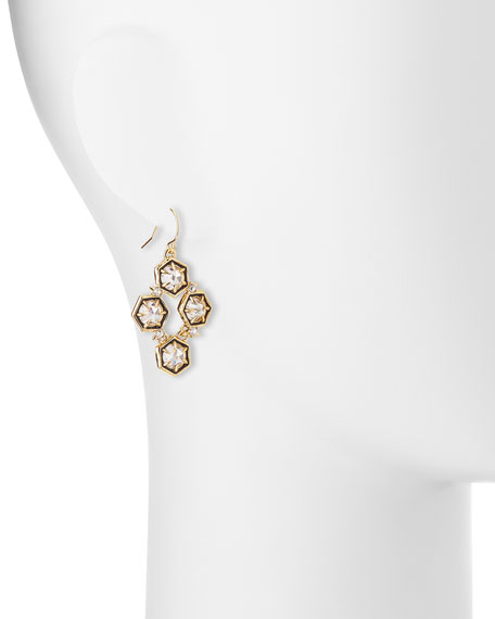 Mosaic Crystal Drop Earrings, Clear