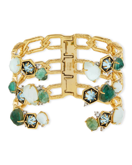 Alexis Bittar Mosaic Bypass Hinge Cuff Bracelet