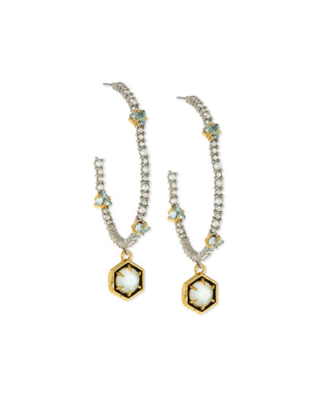 Alexis Bittar Pavé Hoop Drop Earrings, Green