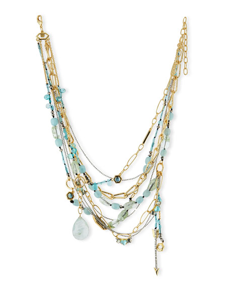 Alexis Bittar Golden Multi-Strand Mixed Crystal Necklace, Green
