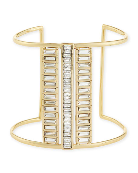 Triple-Channel Crystal Cuff Bracelet