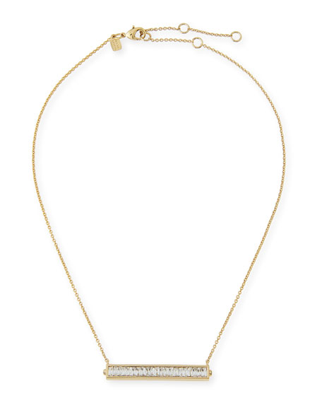 Alexis Bittar Golden Baguette Crystal Bar Pendant Necklace