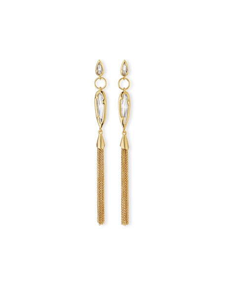 Elongated Crystal Chain Duster Earrings