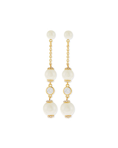 glass pearls of wisdom earrings, cream