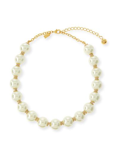 glass pearls of wisdom necklace, cream