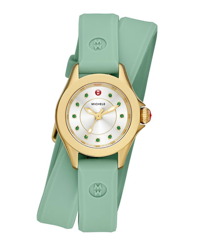 Cape Mini Topaz Watch w/ Double-Wrap Silicone Strap, Green