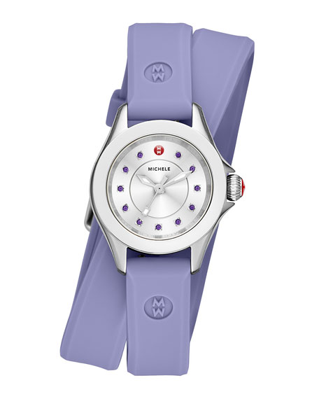 MICHELE Cape Mini Topaz Watch w/ Double-Wrap Silicone