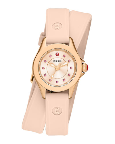 Cape Mini Topaz Watch w/ Double-Wrap Silicone Strap, Blush Pink