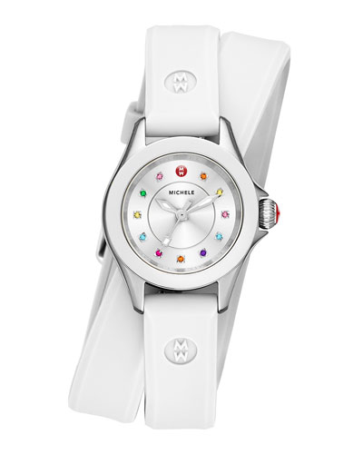 Cape Mini Topaz Watch w/ Double-Wrap Silicone Strap, White/Multi