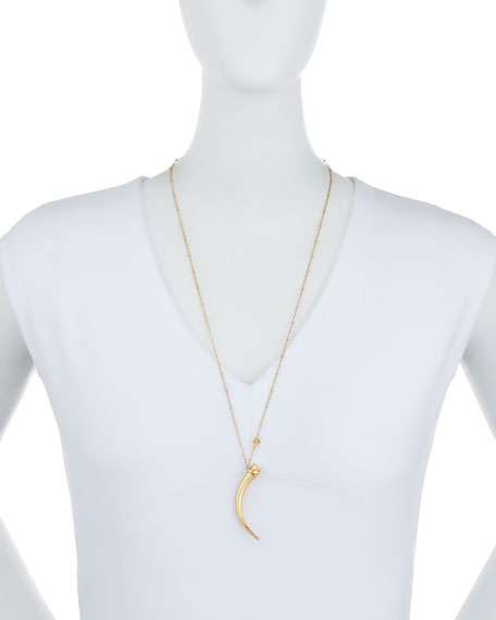 Image 2 of 2: Classic Gold Wrapped Horn Necklace