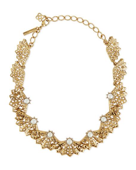 Oscar de la Renta Pearly Filigree Fan Necklace