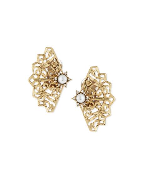 Oscar De La Renta Crystal Fan Post Earrings vIhhhfBlU