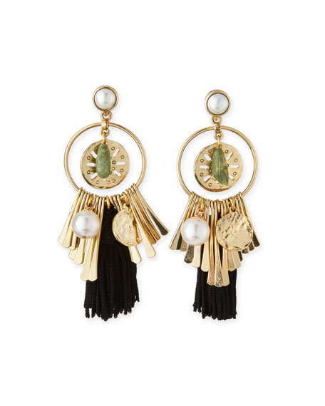 Oscar de la Renta Pearly Tassel Charm Earrings,