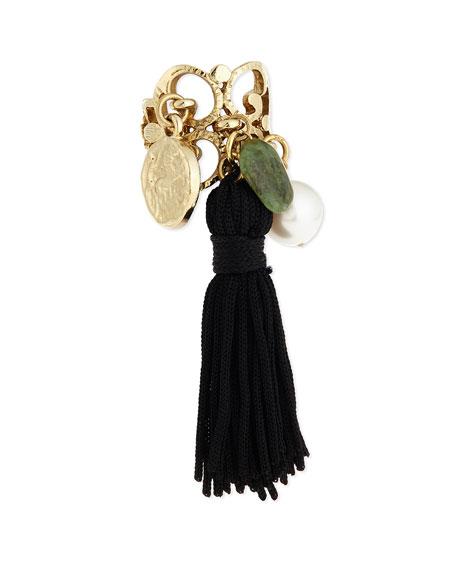 Oscar de la RentaTassel Charm Ring, Black