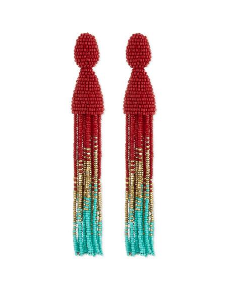 Oscar de la Renta Beaded Ombre Tassel Earrings