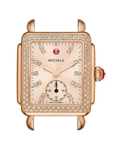 16mm Deco Diamond Watch Head, Rose Gold