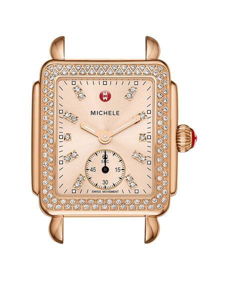 Michele 16mm deco diamond watch head rose gold for Deco maison rose gold