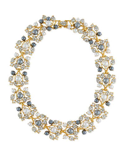 Pearly Crystal Vine Collar Necklace, Golden/Gray