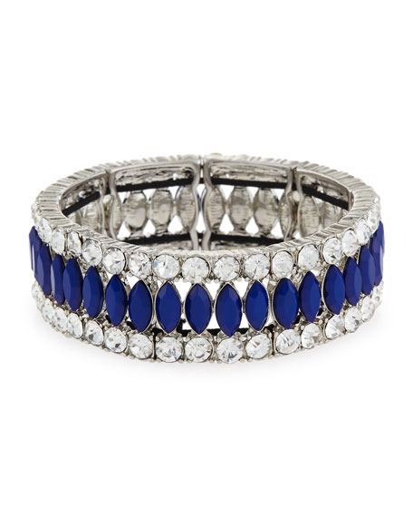 Faceted Marquise Crystal Stretch Bracelet, Blue