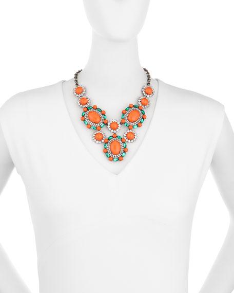 Multicolor Crystal Cabochon Bib Necklace, Gunmetal/Orange