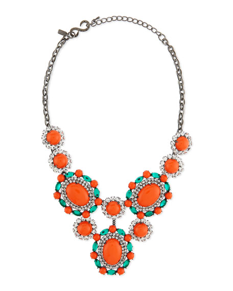 Kenneth Jay Lane Multicolor Crystal Cabochon Bib Necklace,