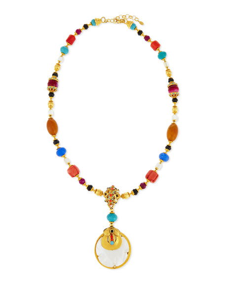 Jose & Maria Barrera Mixed-Bead Mother-of-Pearl Pendant Necklace,