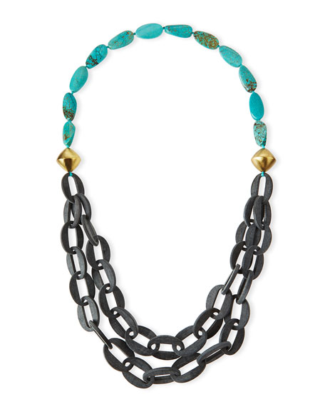 NEST Jewelry Chain-Link Double-Strand Turquoise Necklace, 39