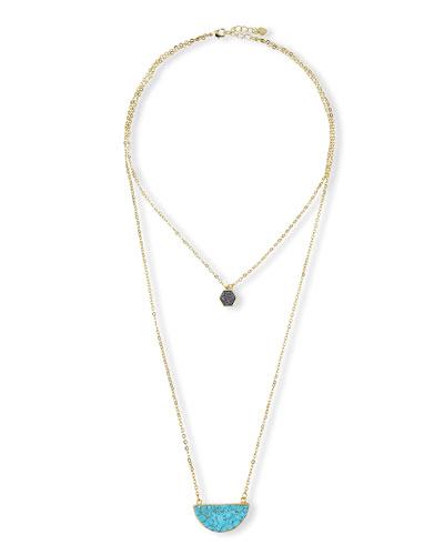 Santorini Double-Strand Pendant Necklace, Ocean/Opal