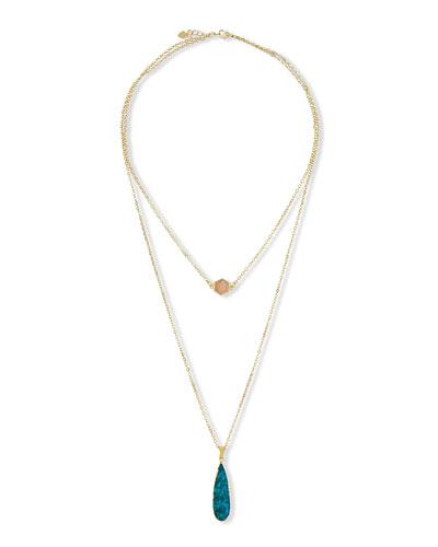Hailey Double-Strand Pendant Necklace, Ocean/Opal