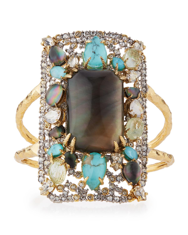 8eaee2075ca2 Alexis BittarGolden Swarovski® Crystal-Encrusted Mosaic Cuff Bracelet