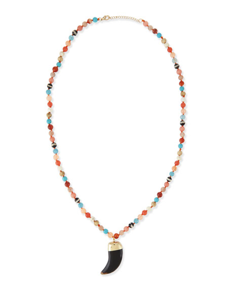 Long Agate Pendant Necklace, Multi, 32""