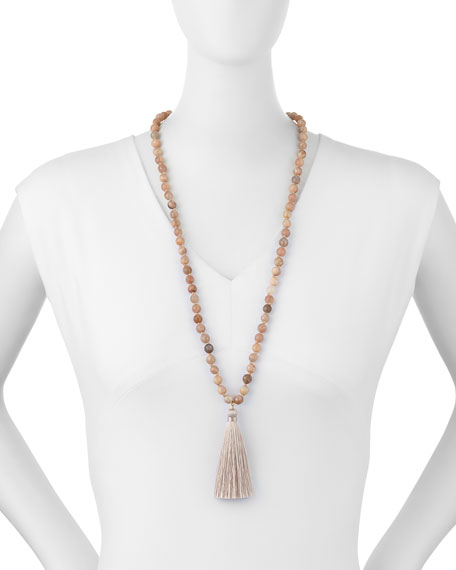 "Panacea Long Beaded Tassel Necklace, Peach, 30""L"