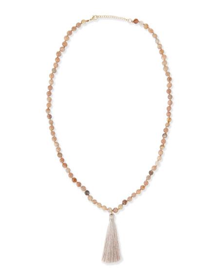 Panacea Long Beaded Tassel Necklace, Peach, 30