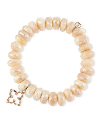 Pink Moonstone Faceted Rondelle Bracelet w/ 14K Rose Gold Moroccan Flower Charm