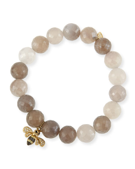 Sydney Evan Pearl-Gray Chalcedony Bracelet w/ 14K Gold