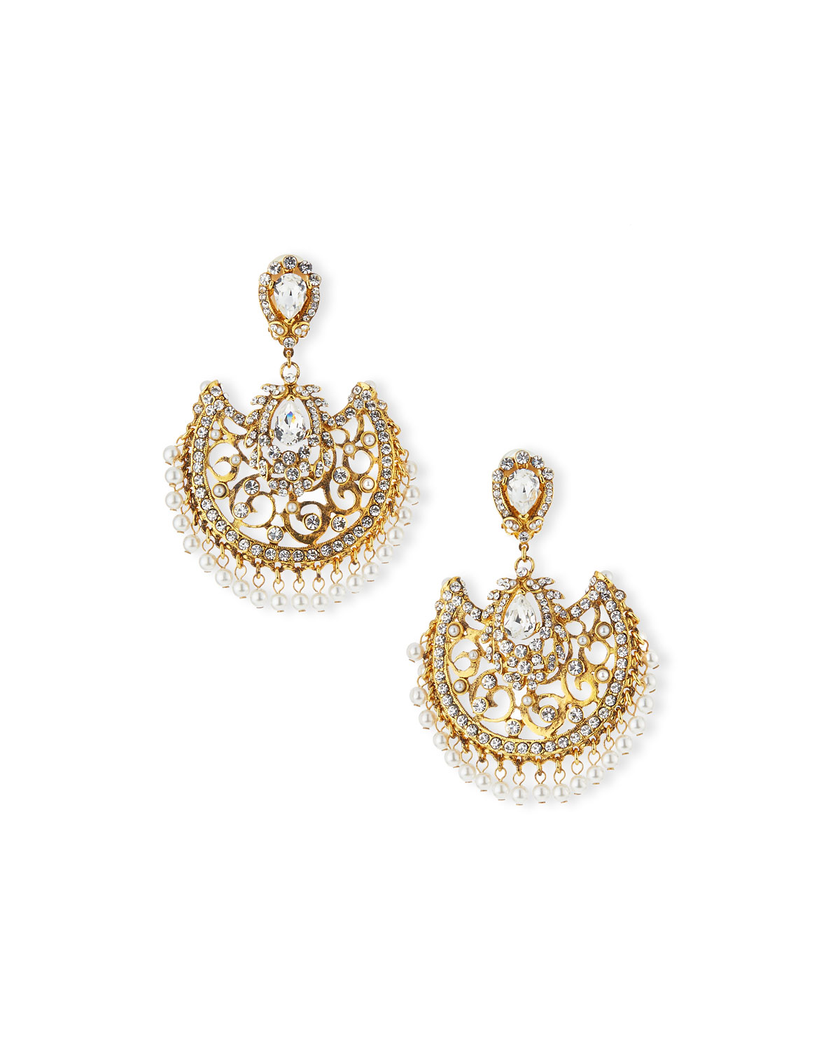 Jose & Maria Barrera Beaded Filigree Chandelier Clip-On Earrings j82iqqDy