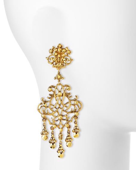 24k-Plated Scroll Chandelier Clip Earrings