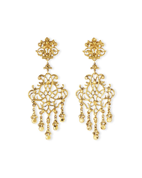 Jose & Maria Barrera24k-Plated Scroll Chandelier Clip Earrings