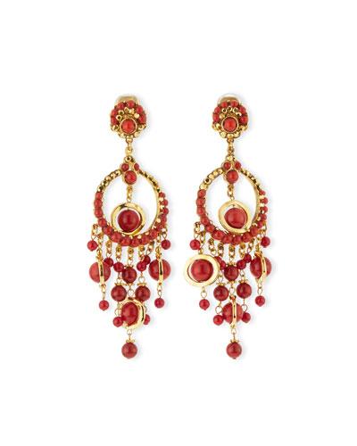 24k-Plated Chandelier Clip Earrings w/ Coral Drops