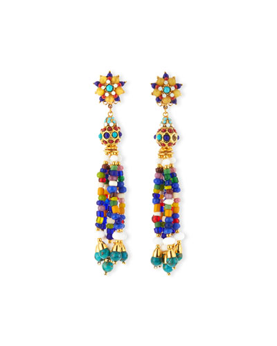 24k Gold-Plate Tassel Clip-On Earrings, Multi
