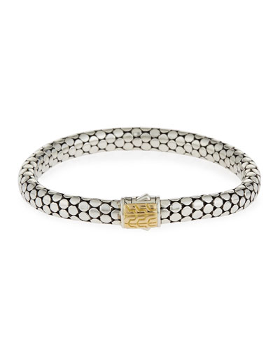 Dot 5mm Sterling Silver & 18K Gold Bracelet, Medium