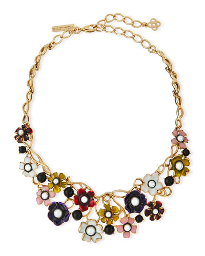 Pearly Enamel Flower Statement Necklace, Multi