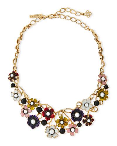 Pearly Enamel Flower Statement Necklace, Multi