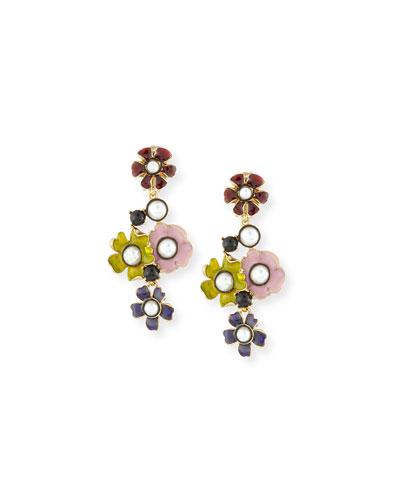 Pearly Enamel Flower Drop Clip Earrings, Multi