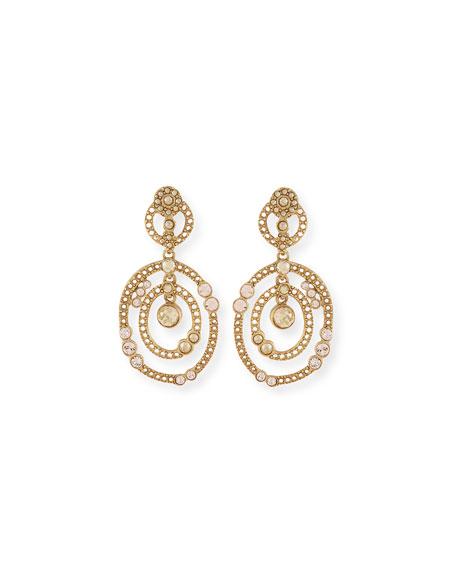 Oscar de la Renta Double Loop Crystal Drop Earrings