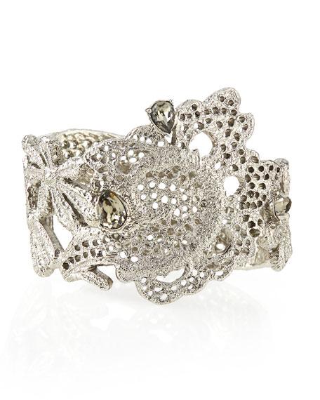 Oscar de la Renta Crystal Lace Cuff Bracelet
